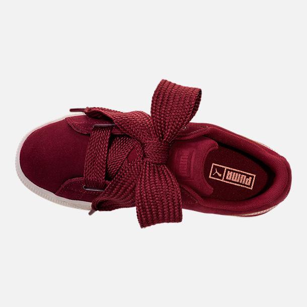 372e2ec687a Top view of Girls  Big Kids  Puma Suede Heart Copper Casual Shoes