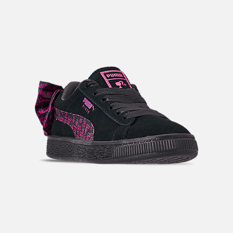 Three Quarter view of Girls' Little Kids' Puma x Barbie Suede Classic Casual Shoes in Puma Black