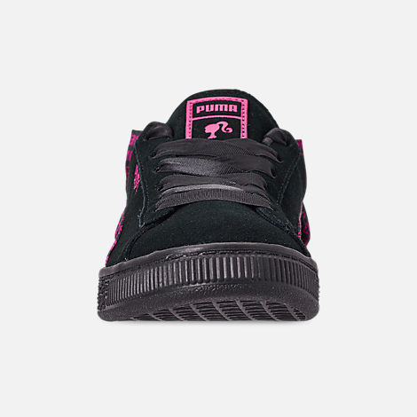 Front view of Girls' Little Kids' Puma x Barbie Suede Classic Casual Shoes in Puma Black
