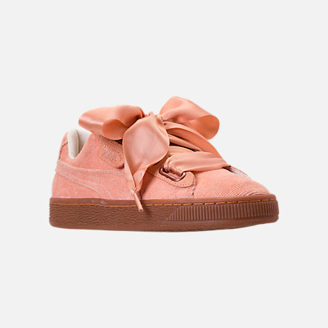Three Quarter view of Women's Puma Basket Heart Casual Shoes in Dusty Coral/Dusty Coral