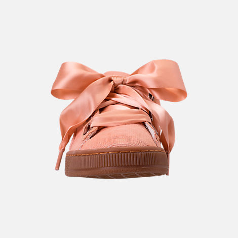 Front view of Women's Puma Basket Heart Casual Shoes in Dusty Coral/Dusty Coral