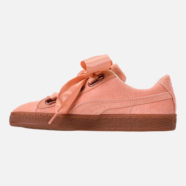 Left view of Women's Puma Basket Heart Casual Shoes in Dusty Coral/Dusty Coral