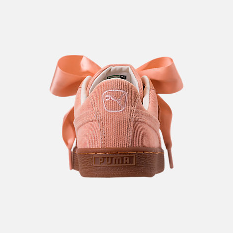 Back view of Women's Puma Basket Heart Casual Shoes in Dusty Coral/Dusty Coral