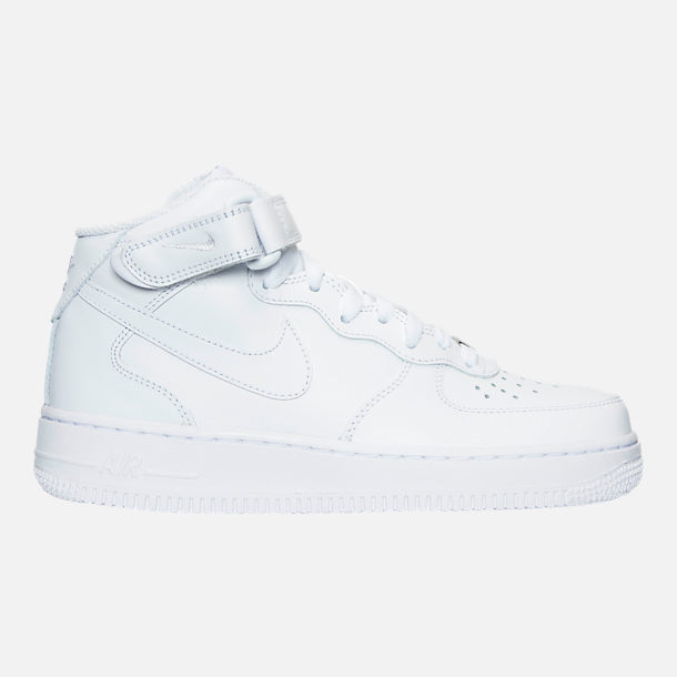 Right view of Women's Nike Air Force 1 Mid Casual Shoes in White/White