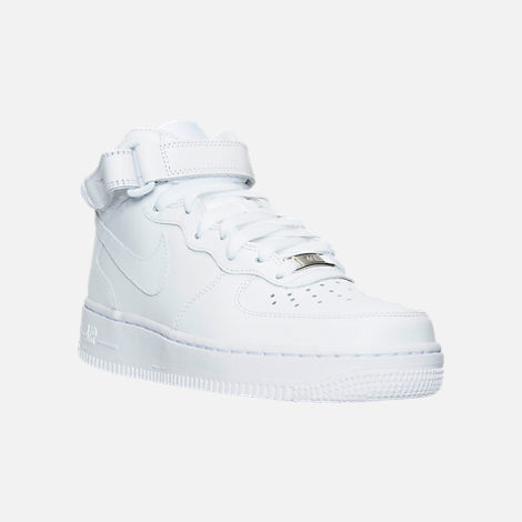three quarter view of womens nike air force 1 mid casual shoes in white white