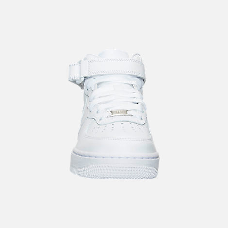 Front view of Women's Nike Air Force 1 Mid Casual Shoes in White/White