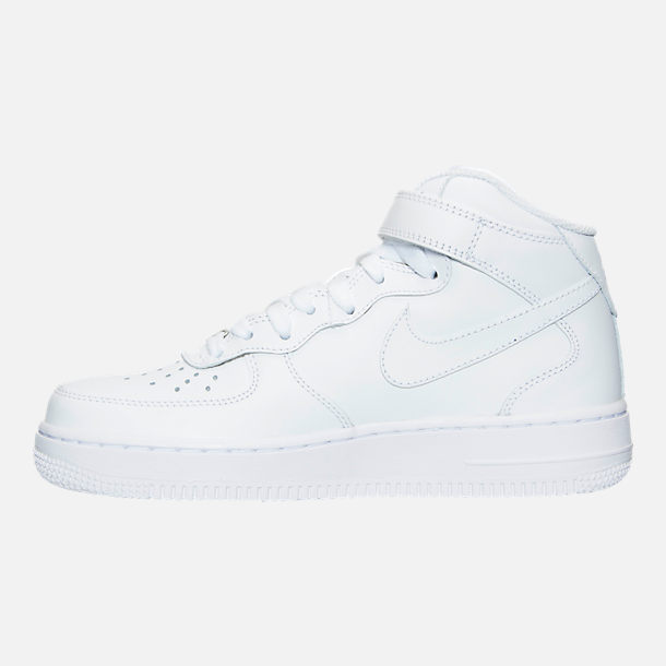 Left view of Women's Nike Air Force 1 Mid Casual Shoes in White/White