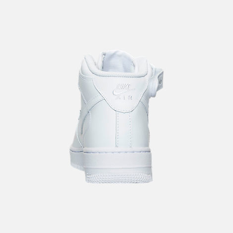 Back view of Women's Nike Air Force 1 Mid Casual Shoes in White/White