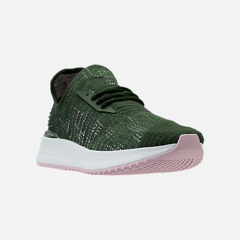 Three Quarter view of Women's Puma Avid EvoKNIT Casual Shoes in Forest Night/Laurel Wreath/Winsome
