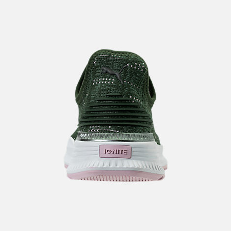 Back view of Women's Puma Avid EvoKNIT Casual Shoes in Forest Night/Laurel Wreath/Winsome