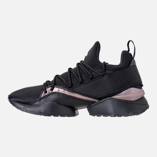 Left view of Women s Puma Muse Maia Luxe Casual Shoes in Puma Black Puma  Black 7c002f294