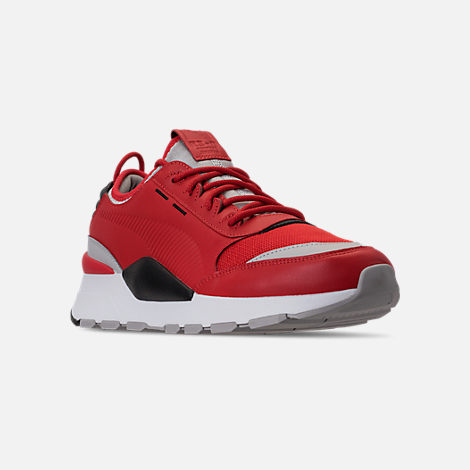 Three Quarter view of Men's Puma Evolution RS-0 Sound Casual Shoes in High Risk Red/Grey Violet/Puma Black