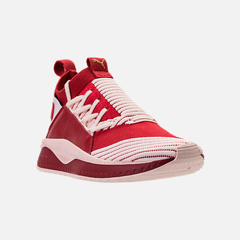 Three Quarter view of Women's Puma Tsugi Jun Casual Shoes in Red Dalia/Pink