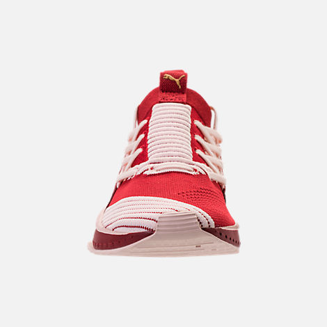 Front view of Women's Puma Tsugi Jun Casual Shoes in Red Dalia/Pink