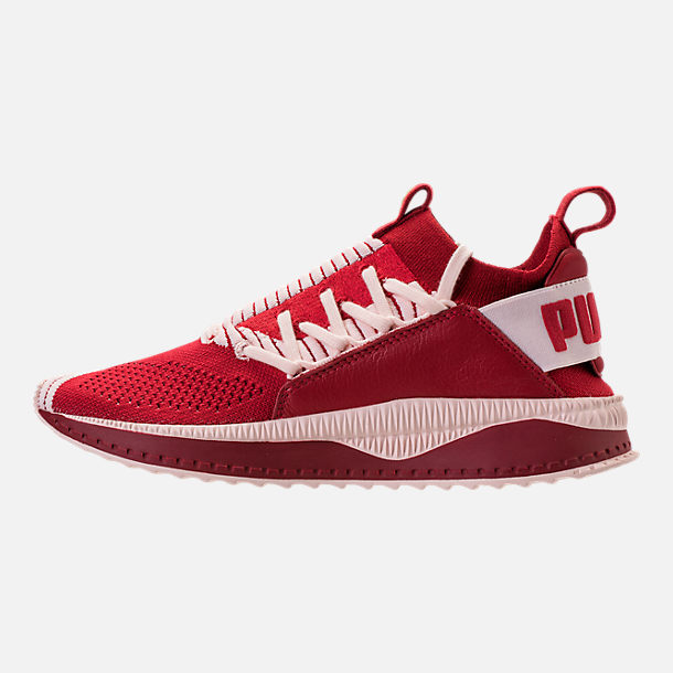 Left view of Women's Puma Tsugi Jun Casual Shoes in Red Dalia/Pink