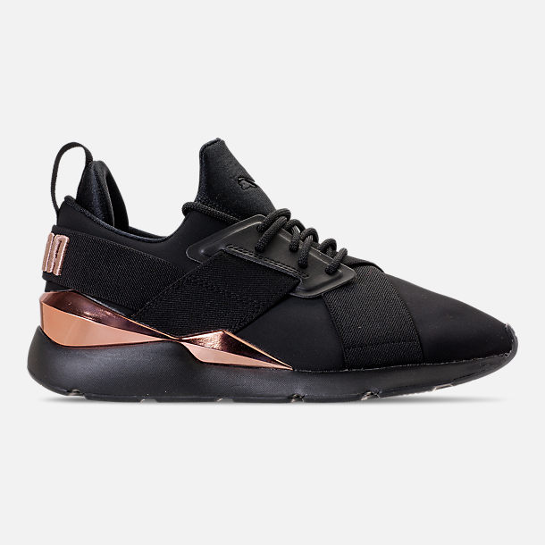 Right view of Women's Puma Muse Metallic Casual Shoes in Puma Black/Rose/Gold