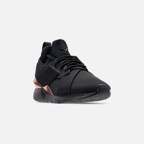 Three Quarter view of Women's Puma Muse Metallic Casual Shoes in Puma Black/Rose/Gold