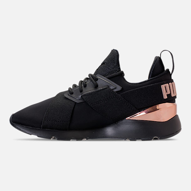 Left view of Women's Puma Muse Metallic Casual Shoes in Puma Black/Rose/Gold