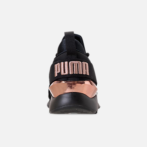 Back view of Women s Puma Muse Metallic Casual Shoes in Puma Black Rose Gold 2ed31100a