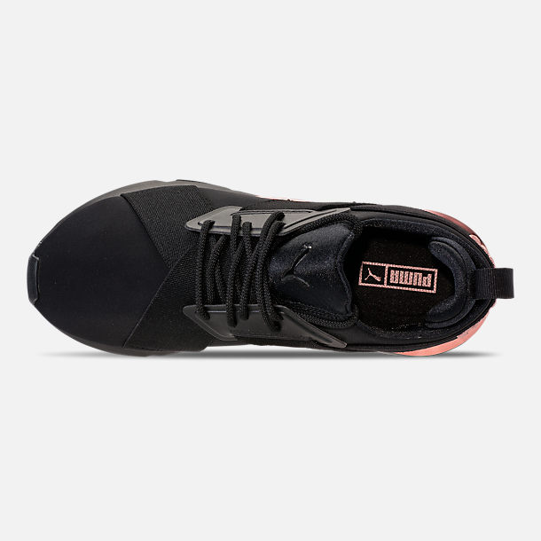 Top view of Women's Puma Muse Metallic Casual Shoes in Puma Black/Rose/Gold