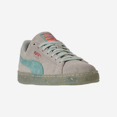 Three Quarter view of Women's Puma Suede Classic Glitz Casual Shoes in Blue Flower/Aquifer/Pearl