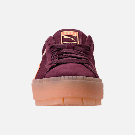 Front view of Women's Puma Suede Platform Rugged Casual Shoes in Wine Tasting - Flame