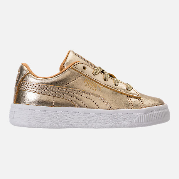 Right view of Girls' Toddler Puma Suede 50th Casual Shoes in Gold Leather