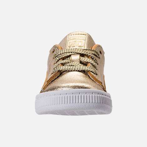 Front view of Girls' Toddler Puma Suede 50th Casual Shoes in Gold Leather