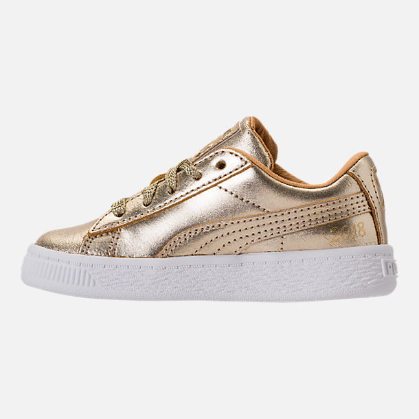 Left view of Girls' Toddler Puma Suede 50th Casual Shoes in Gold Leather