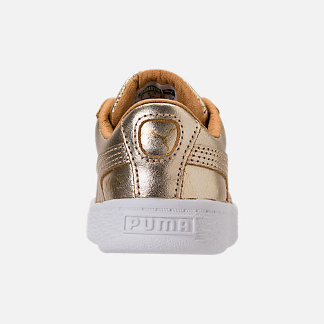 Back view of Girls' Toddler Puma Suede 50th Casual Shoes in Gold Leather