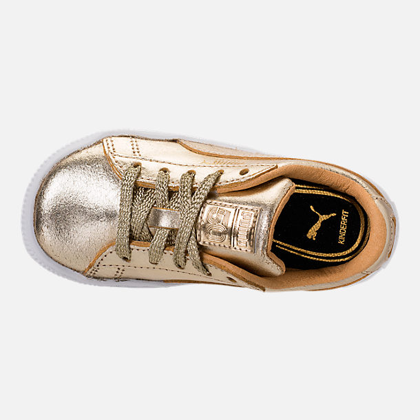 Top view of Girls' Toddler Puma Suede 50th Casual Shoes in Gold Leather
