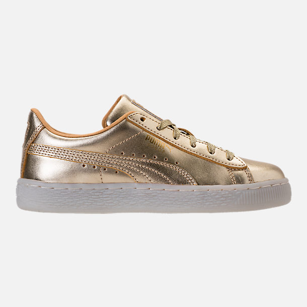 Right view of Girls' Preschool Puma Suede 50th Casual Shoes in Gold Leather