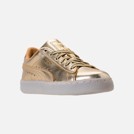 Three Quarter view of Girls' Preschool Puma Suede 50th Casual Shoes in Gold Leather