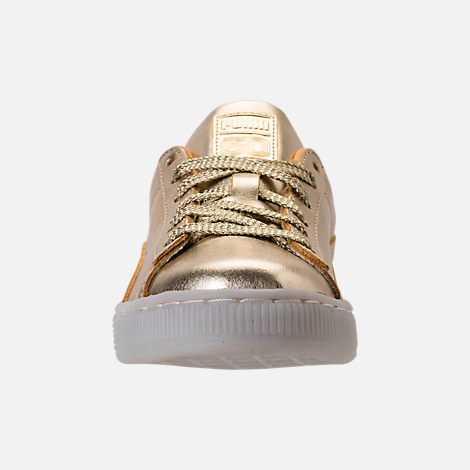 Front view of Girls' Preschool Puma Suede 50th Casual Shoes in Gold Leather
