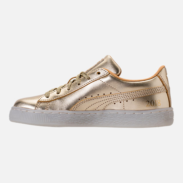 Left view of Girls' Preschool Puma Suede 50th Casual Shoes in Gold Leather