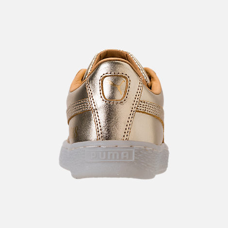 Back view of Girls' Preschool Puma Suede 50th Casual Shoes in Gold Leather