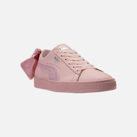 Three Quarter view of Women's Puma Basket Bow Casual Shoes in Pearl