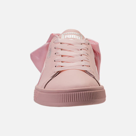 Front view of Women's Puma Basket Bow Casual Shoes in Pearl