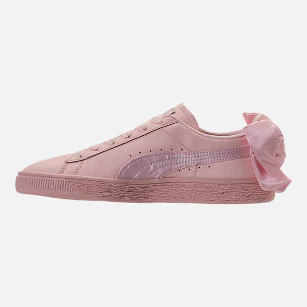 Left view of Women's Puma Basket Bow Casual Shoes in Pearl