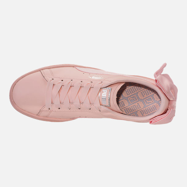 Top view of Women's Puma Basket Bow Casual Shoes in Pearl