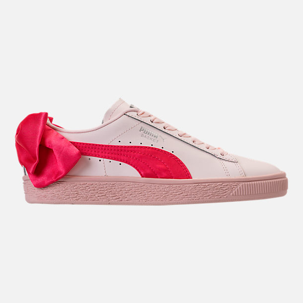 Right view of Girls' Grade School Puma Basket Bow Casual Shoes in Paradise Pink/Paradise Pink