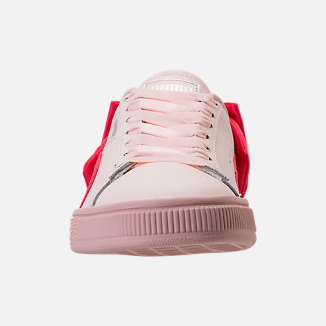 Front view of Girls' Grade School Puma Basket Bow Casual Shoes in Paradise Pink/Paradise Pink