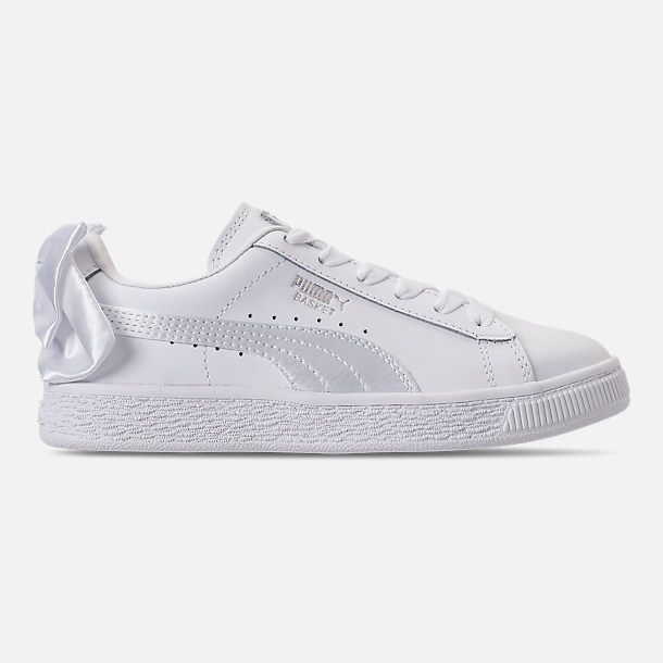 Right view of Girls' Preschool Puma Basket Bow Casual Shoes in White