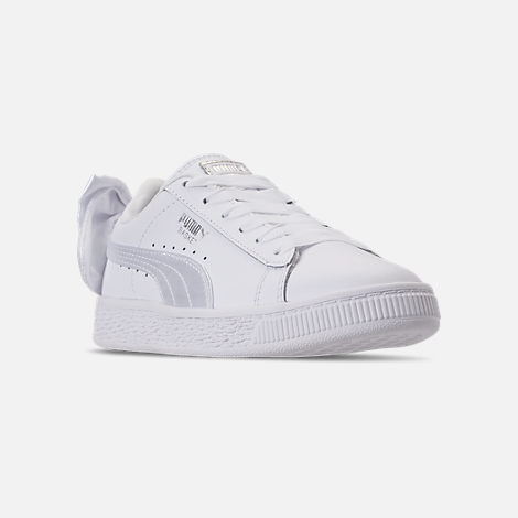 Three Quarter view of Girls' Preschool Puma Basket Bow Casual Shoes in White