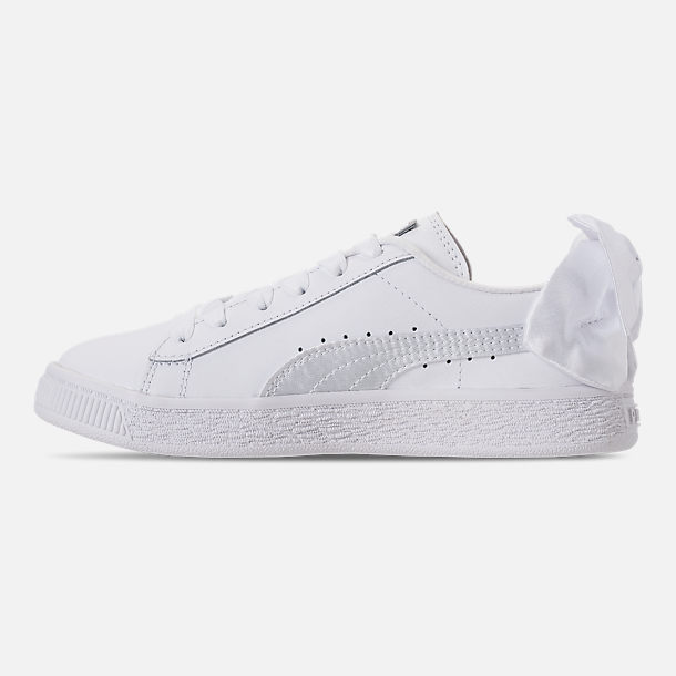 Left view of Girls' Preschool Puma Basket Bow Casual Shoes in White