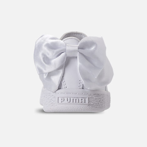 Back view of Girls' Preschool Puma Basket Bow Casual Shoes in White