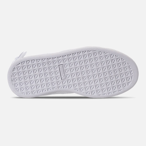 Bottom view of Girls' Preschool Puma Basket Bow Casual Shoes in White