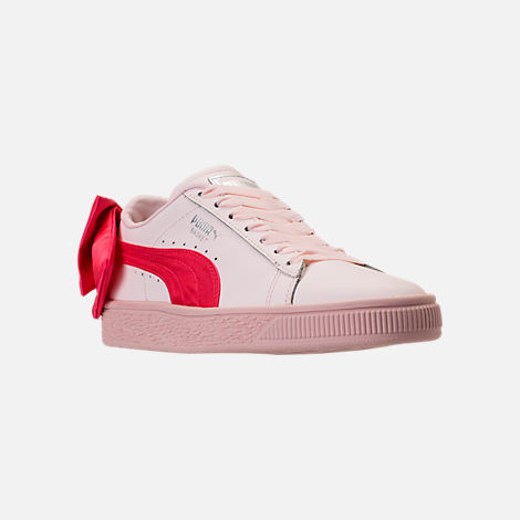Three Quarter view of Girls' Preschool Puma Basket Bow Hook-and-Loop Casual Shoes in Paradise Pink/Paradise Pink