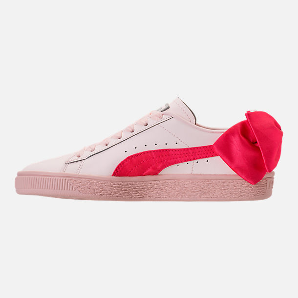 Left view of Girls' Preschool Puma Basket Bow Hook-and-Loop Casual Shoes in Paradise Pink/Paradise Pink