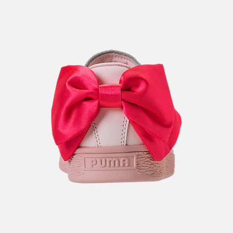 Back view of Girls' Preschool Puma Basket Bow Hook-and-Loop Casual Shoes in Paradise Pink/Paradise Pink